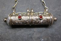 Sterling silver prayer tube with carnelians