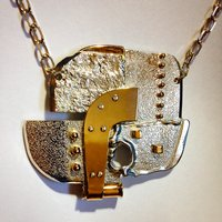 Large abstract pendant in silver and gold