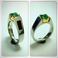 Ladies ring in 18K white gold and 20K yellow with emerald and wood