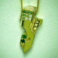 Pendant in 18K yellow and white gold with green diamonds, tsavorites and black diamonds