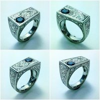 GENTS RING 18K WHITE GOLD WITH BLACK DIAMOND