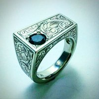 ONE CARAT BLACK DIAMOND IN HAND ENGRAVED RING